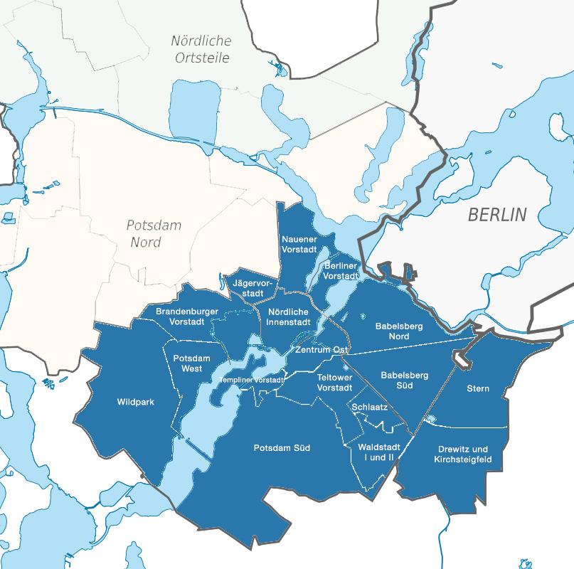 Übersicht über die Wahlkreise Potsdam I und II